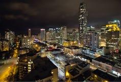 BC温哥华Robson街道都市风景 免版税库存照片