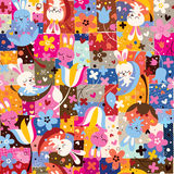 cute bunnies & flowers collage nature pattern Stock Photography