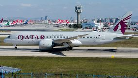 A7-BCY Qatar Airways, Boeing 787-8 Dreamliner. A7-BCY is rolling for take-off on runway 35L at Istanbul Ataturk Airport LTBA, October 7, 2018 royalty free stock image