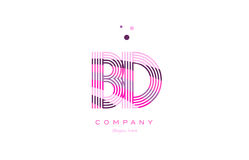 Bd b d alphabet letter logo pink purple line icon template vecto Stock Photography