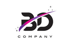 BD B D Black Letter Logo Design with Purple Magenta Swoosh Stock Photography