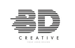 BD B D Zebra Letter Logo Design with Black and White Stripes Stock Images