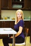 Bdondinka posing in kitchen Royalty Free Stock Photo
