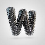 BDSM anneriscono la maiuscola della lettera W del lattice con le punte del cromo isolate su fondo bianco illustrazione di stock