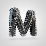 BDSM black latex letter M uppercase with chrome spikes isolated on white background. BDSM letter M uppercase. 3D rendering black latex font with chrome spikes Royalty Free Stock Image