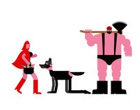 BDSM mistress Red Riding Hood and slave wolf. lumberjack punish wolf. latex mask. Adult sex games. Sadism and masochism.  royalty free illustration
