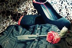 Bdsm zabawki i gothic gorsecik z różanym tłem Zdjęcia Stock