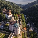 Bečov - aerial drone view of medieval castle royalty free stock image