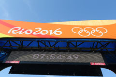 Beëindig lijn van de het Cirkelen van Rio 2016 Olympische Wegconcurrentie van Rio 2016 Olympische Spelen in Rio de Janeiro Royalty-vrije Stock Afbeelding