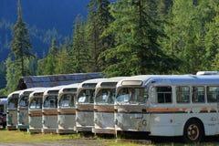 Beëindigen van de Lijn - Historische Bussen in Sandon, B C royalty-vrije stock afbeeldingen