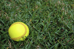 Beísbol con pelota blanda en el campo abierto Imagen de archivo libre de regalías