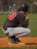 Beísbol con pelota blanda/pausa en la base Foto de archivo libre de regalías