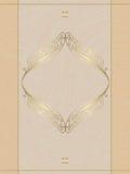 Beż karta z złocistym ornamentem royalty ilustracja
