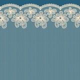 Beżowa bezszwowa kwiat koronki granica Zdjęcie Stock
