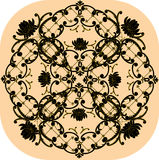 beżowego czarny projekta kwiecisty kwadrat ilustracja wektor