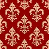 Beżowego i czerwonego francuza lis bezszwowy kwiecisty wzór Obrazy Stock