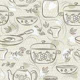 Beżowi bezszwowi wzory z różnym tableware, kwiat, garnek, rondel, filiżanka Ideał dla drukować na tkaninie, papier i świstek ilustracja wektor