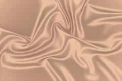Beżowy jedwabniczy tło Tkaniny złota tekstura Sepiowy gładki romantyczny zasłony tło Zdjęcie Stock