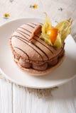 Beżowy wyśmienicie macaroon z czekoladową śmietanką dekorował przylądka lepidło Zdjęcie Royalty Free