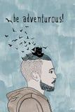 Be adventurous! - conceptual portrait of a guy Stock Images