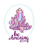 Be amazing. Hand drawn calligraphic vector quote  Royalty Free Stock Photography