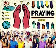 Be att be begrepp för religion för hopphjälpandlighet Arkivbilder