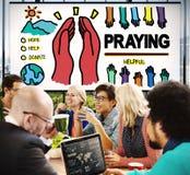 Be att be begrepp för religion för hopphjälpandlighet Arkivbild
