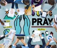 Be att be begrepp för religion för hopphjälpandlighet Arkivfoton