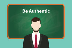 Be authentic white text illustration on green chalk board with beard man wearing black suit standing in front of the Stock Images