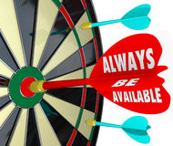 Always Be Available Words Dart Board Direct Access Convenience. Always Be Available words on a dart hitting the bull's eye or target on a board to illustrate the stock illustration