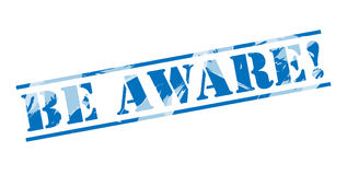Be aware blue stamp Royalty Free Stock Photo