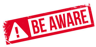 Be Aware rubber stamp Stock Image
