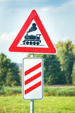 Be aware of the train!. Photo closeup of sign that awares the drivers about the railway in the near. Trains are the most biggest ground transport in the world stock photo