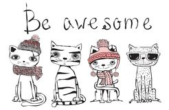 Be Awesome Cat Royalty Free Stock Photography