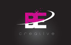 BE B E Creative Letters Design With White Pink Colors. BE B E Creative Letters Design. White Pink Letter Vector Illustration Royalty Free Stock Photography