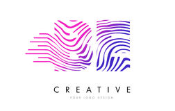 BE B E Zebra Lines Letter Logo Design with Magenta Colors royalty free illustration