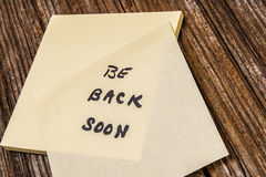 Be back soon,sticky,note Royalty Free Stock Photo