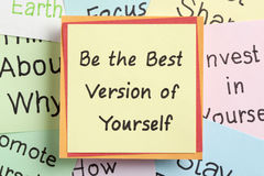 Be the Best Version of Yourself. Top view of Be the Best Version of Yourself handwritten on a note stock images