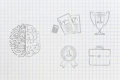 Half digital half human brain next to group of work-related icon royalty free stock image