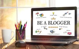 Be A blogger Concept In Home Office. Concept For Working As A blogger In Home Office stock photography