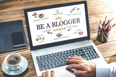 Be A blogger Concept In Home Office Royalty Free Stock Image