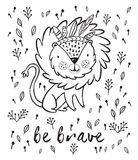 Be brave. Cute lion cartoon vector illustration in outline. Cartoon character fun lion. Black and white vector illustration. Funny cartoon lion vector print with Stock Photography