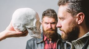 Be brave. Focused on breaking fear. Psychology concept. Human fears and courage. Looking deep into eyes of your fear. Man brutal bearded hipster looking at royalty free stock images