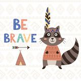 Be brave tribal motivational card with a cute raccoon Royalty Free Stock Photo