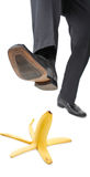 Be careful. Person about to step on a banana peel Stock Photo