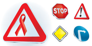 Be careful on life way signs. Road signs and sign in HIV/AIDS theme Stock Image