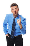 Be careful!. Very angry businessman threatening you Stock Photography