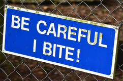 Be carful I bite sign Stock Photos