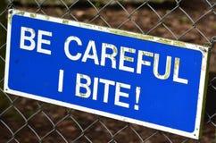 Be carful I bite sign Stock Photos