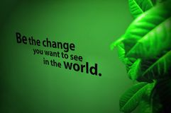 Be the Change you want to see in the world. Phrase on wall, leaves at the side and green light Royalty Free Stock Photos